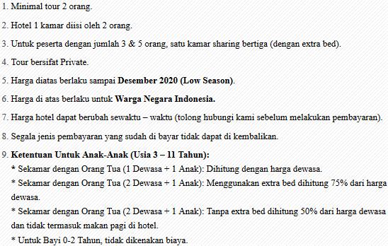 ketentuan paket honeymoon lombok 4 hari 3 malam