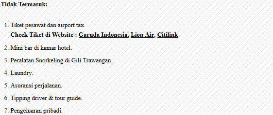 ketentuan paket tour and travel lombok