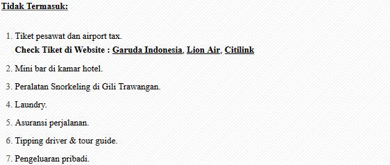 Ketentuan Paket Liburan Pantai Pink Lombok